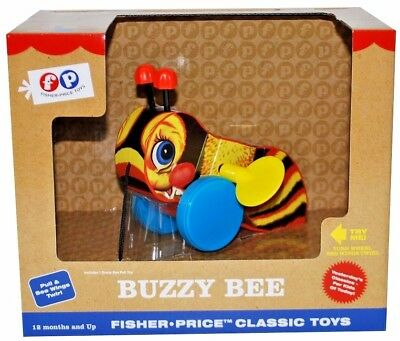 Fisher-Price BUZZY BEE Classic Pull Toy FP 1625 Wings Twirl Clicks Busy NIB NEW
