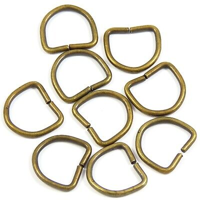 SALE! 50x 100xpack - 16mm 5/8 inch Metal Dee D-Ring in Brass/Chrome