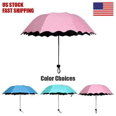 Sunny Rainy Folding Umbrella Magical Bloom Flower UV Protection Women Girls
