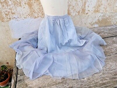 1920s French girl costume disguise size 8/10 years / soft blue taffetas skirt