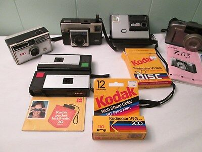 Vintage Cameras Lot Of 7 Cameras, Canon, Kodak, Polaroid, Pocket Instamatic