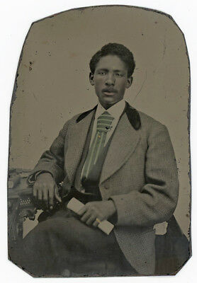 African American Black Man With Unusual Green Tie & Rolled Up Document Tintype