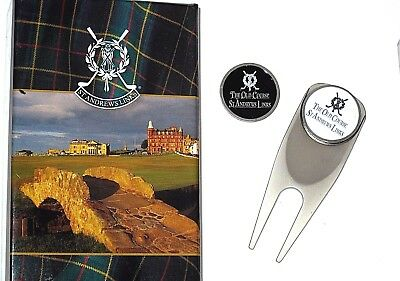 New✿St Andrews Old Course Links Tartan Collection Divot Z Tool + 2 Ball Markers