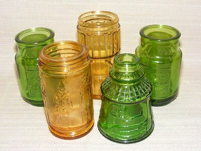 Lot 5 Vintage Wheaton NJ Glass Bottles Yellow Green Bitters Pisces Soldiers C10