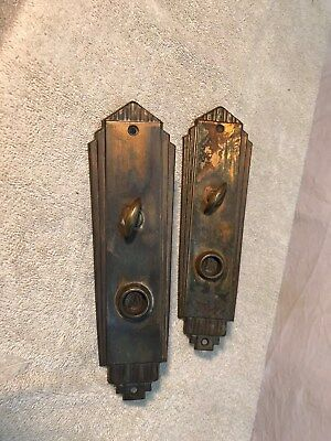 Vintage Pair of Brass Art Deco Door Lock Plate Covers 9in