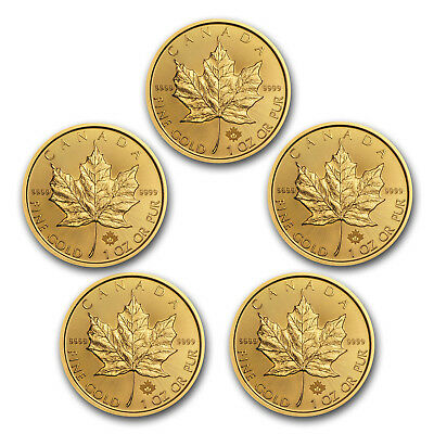 BANK WIRE PAYMENT. 2017 Canada 1 oz Gold Maple Leaf Coins BU - Lot of 5