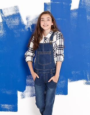 Joules Leigh Girls Dungarees with Stud and Strap Fastening in Denim