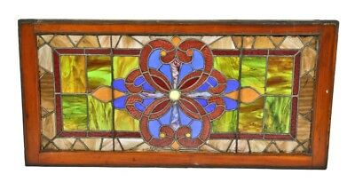 Salvaged Chicago Residential Stained Glass Transom Window Accentuated With Jewel
