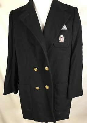 Vtg J G Hook 80S Merino Wool Double Breasted Gold Buttons Crest Womens L USA