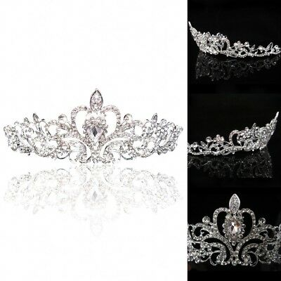Rhinestone Crystal Bridal Wedding Tiara Crown Pageant Headband Flower Headpiece
