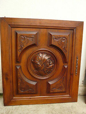 Antique Carved Head Architectural Panel Door Walnut Wood /1