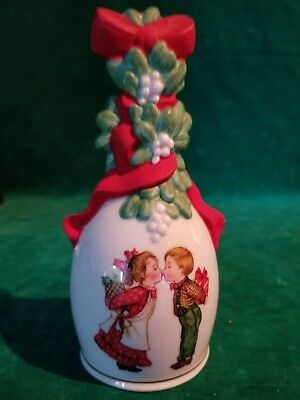 "1989 Avon Porcelain Christmas Bell ""Under the Mistletoe"" in it's original box."