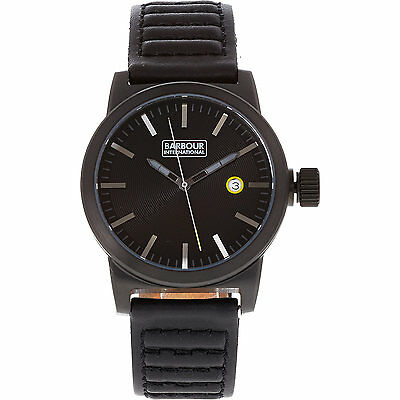 New Men's Authentic BARBOUR INTERNATIONAL Halsted Black Leather Watch BB024BKBK