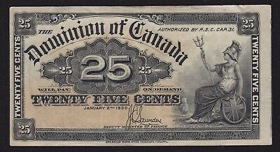 1900 Shinplaster Saunders Signature - Canada 25 Cents Banknote (DC-15c)