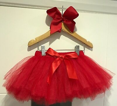 Boutique Girls Christmas Outfit Red Tutu Skirt & Bow Clip Set Party 1-4yrs