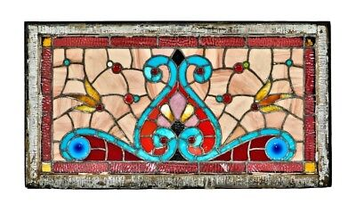 Chicago Vibrantly Colored American Antique Stained Glass Residential Transom Win