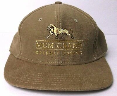 MGM Grand Detroit Casino Hat Made in USA Wet Sand And Gold Color