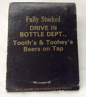 Tooth's & Toohey's Beer Matchbook. Beer. Breweriana Collectable*
