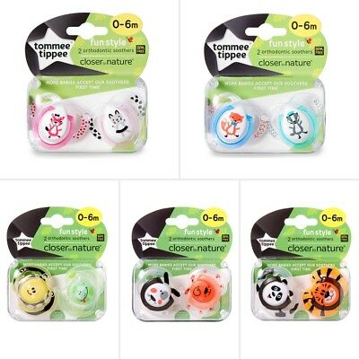 Tommee Tippee Closer To Nature Fun Style 0-6 Month Soother 2 Pack - Assorted*