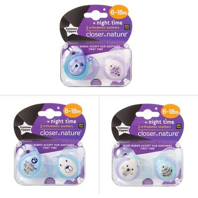 Tommee Tippee Closer To Nature Night Time 6-18 Month Soother 2 Pack - Assorted*