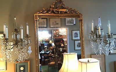 Pair of Continental Gilt Cast Bronze Cut Crystal Electric Wall Sconces Glamour