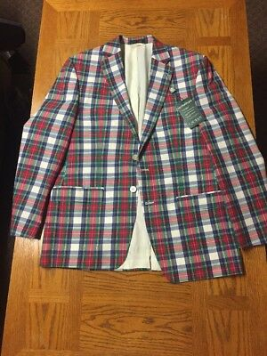 Polo Ralph Lauren Mens Suit Top Blazer 40 Regular Plaid Nwt Made in India 295$