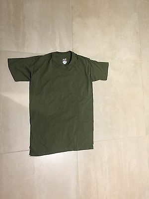 olive, od t shirt, new old stock, medium,  100% COTTONus made