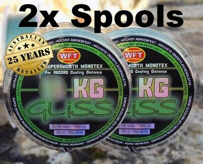2 X BUY WFT Gliss 150 m Green Fishing Line - Choose Your Breaking Strain