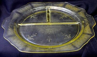 Vintage Princess Yellow Depression Glass Anchor Hocking Grill Plate