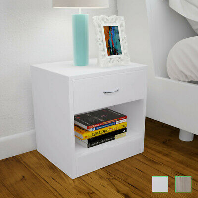 vidaXL 2x Bedside Cabinets with Drawer Nightstand Bedroom Table Oak/White