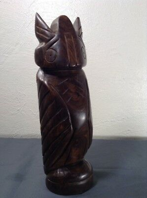 "~ Black Walnut Hand Carved Totem Owl 10"" Heavy 2 lbs Vintage Stylized Statue ~"
