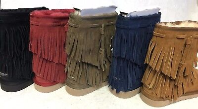 Koolaburra Womens Cable Winter Boot Black Suede Shearling Fringe multiple colors