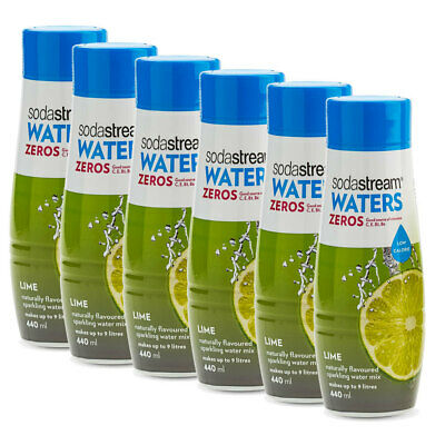 6x SodaStream Zeros Lime 440ml/Sparkling Soda Water Syrup Mix/Low Sugar/Makes 9L