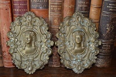 One Antique French Bronze Figural Female Medallion Pediment Mount