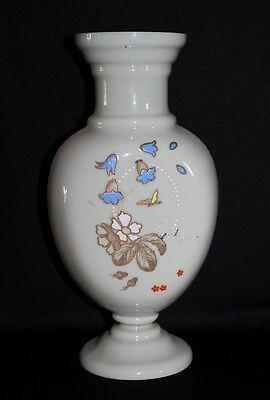 Antique Large Victorian Milk Glass Mantle Vase With Enamel Hand Painted Flowers