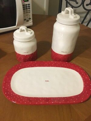 Rae Dunn Set Of 3 Red Polka Dots Canister Christmas Decorations