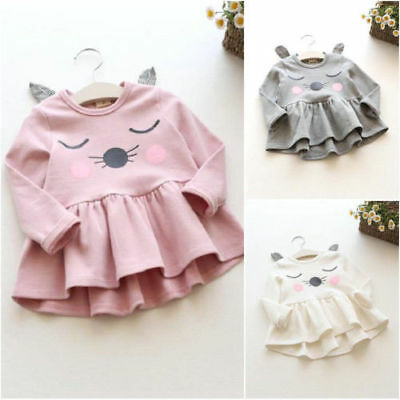 Fashion Toddler Kids Baby Girls Cotton Cute Cat Long Sleeve Dress Casual Tops