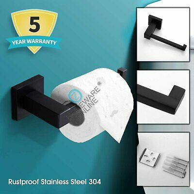 Wall Hook Toilet Paper Roll Holder Matte Black 304 Stainless Steel Bathroom NEW