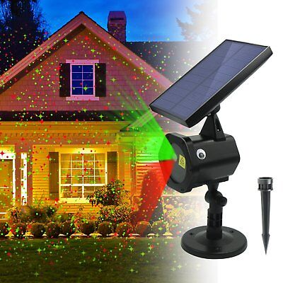 Solar Power Laser Projector Lights Outdoor Garden Christmas Snowflake Flash Lamp