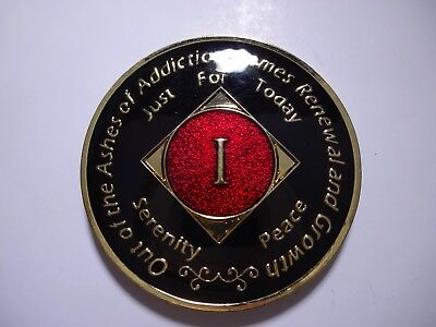 NA Black Red Coin 1 Year Tri-Plate Narcotics Anonymous Medallion +Capsule&Stand