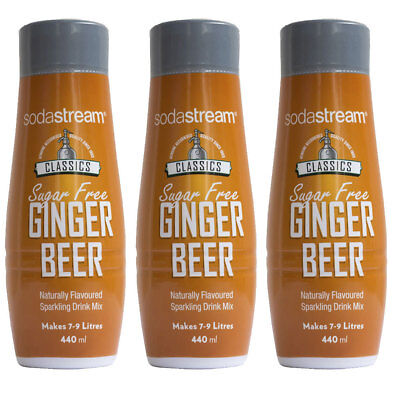 3x SodaStream Classic Diet Ginger Beer 440ml/Sparkling Soda Syrup Mix/Sugar Free