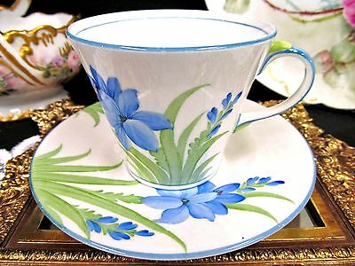 Aynsley Tea Cup And Saucer Painted Blue  Floral Pattern Teacup Deco