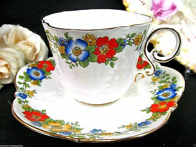 Aynsley Tea Cup And Saucer Floral & Quilted Textured Pattern Teacup Painted