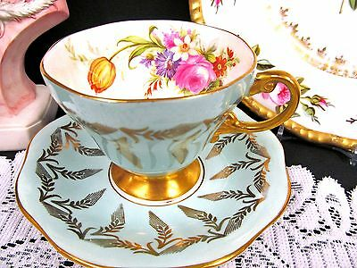 Foley Tea Cup And Saucer Baby Blue Rose Floral Gold Gilt Flared Teacup Pattern
