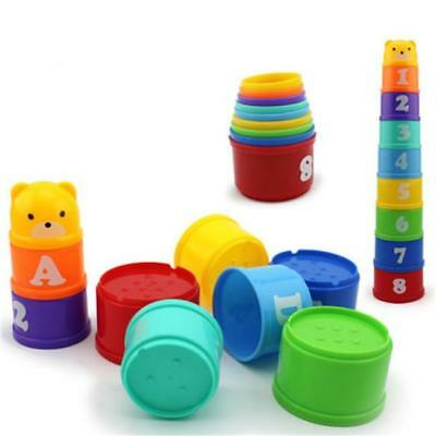 1 Set Baby Children Kids Educational Toy Figures Letters Folding Cup Pagoda - L
