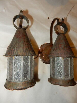 Arts & Crafts Copper with Leaded Textured Glass Porch Lights