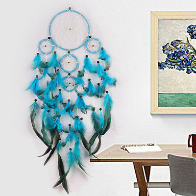 Traditional Blue Dream Catcher wall hanging decoration beads ornament feathers