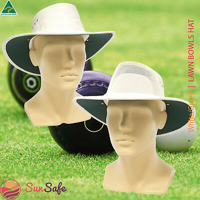 Australian Made Lawn Bowls Hat by Newcastle Hats White on Green Standard/Breeze