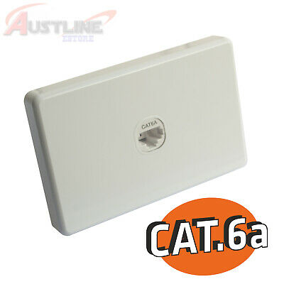 Cat6a 1Port Gang Wall Plate Clipsal Style RJ45 Cat 6A Jack +C-Clip C180