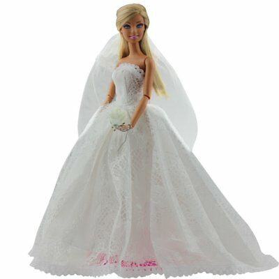 US Stock Bridal Wedding Gown Embroidery Dress w/ Veil For Barbie Doll Toy Gift